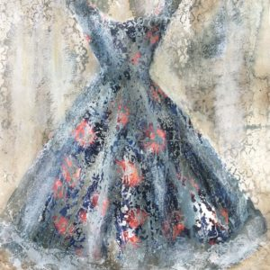 watercolour painting of vintage dress