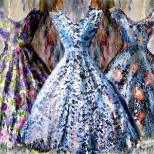 3 dresses watercolour painting