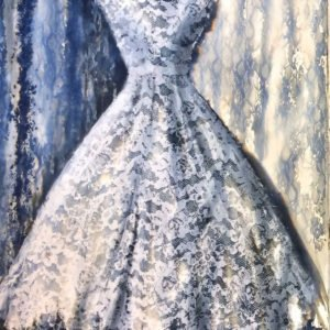 White lace dress- mixed media on paper