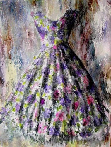 dress painting - watercolour, ink and gesso on paper