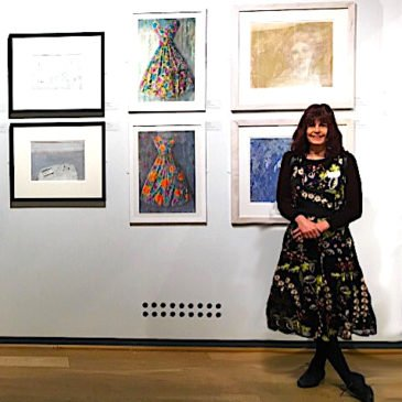 Matching frock and paintings at                            RI Watercolours exhibition,  Mall Galleries
