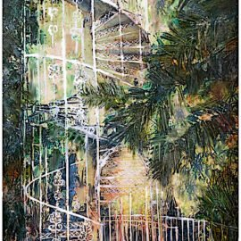 watercolour painting of spiral staircase and palm trees